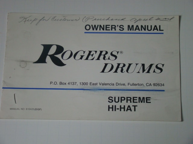 1977 Rogers Supreme Hi-Hat Owners Manual Excellent