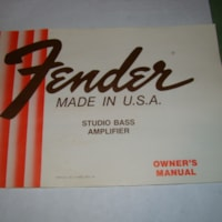 1978 Fender Studio Bass Amp Owners Manual