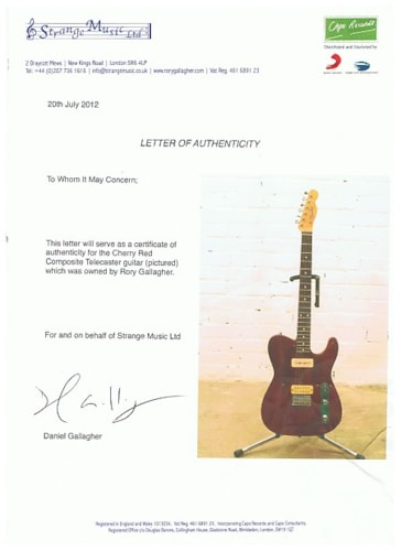 1980 Rory Gallagher Custom Built Telecaster Cherry Red, Brand New, $21,725.00