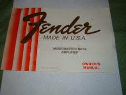 1981 Fender Musicmaster Bass Amp Owners Manual