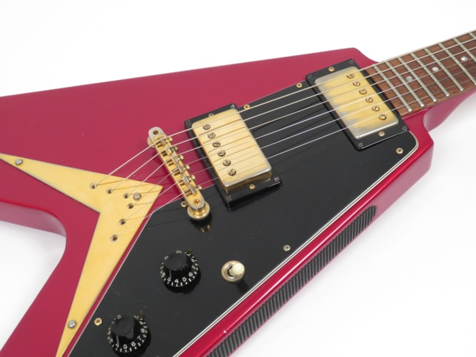 1983 Gibson Flying V Heritage Korina Reissue Candy Apple Red