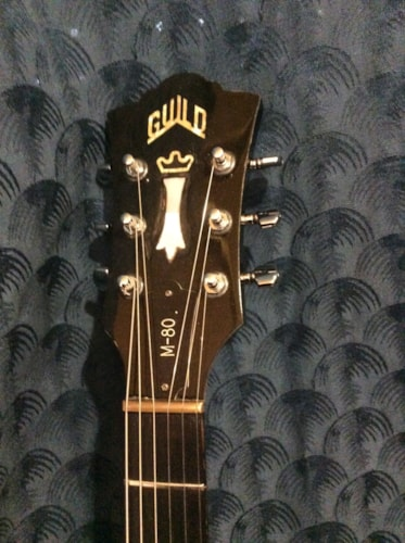 1983 Guild M-80 Black electric guitar with Hardshell case.