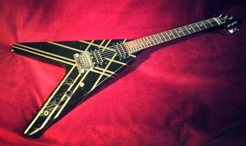 1984 Gibson Flying V - Designer Series Black/Stripes, Good, Original Hard