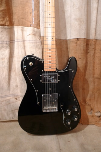 1986 Fender Telecaster Custom  (1972 Reissue) Black, Very Good, GigBag, $975.00