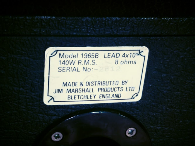1988 Marshall 1965B 4x10 Straight Cab 140w Black, Very Good, $349.00