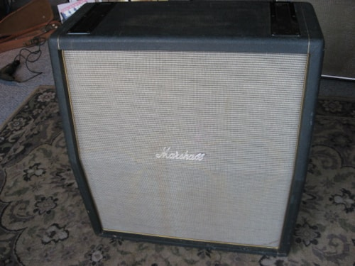 1990 Marshall 1960A Reissue 4-12 Slant Cabinet SMOOTH BLACK/GREEN TOLEX >  Amps & Preamps | Mikes Music