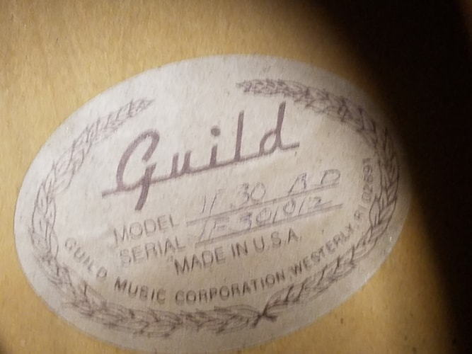 1991 Guild® JF-30 Acoustic/Electric Blonde, Very Good, Hard, $899.00