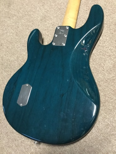 1992 Music Man Stingray Bass Guitar Transparent Teal Green, Excellent, Original Hard