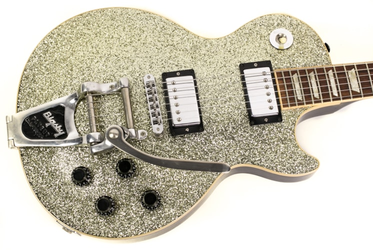 1996 Gibson Les Paul Standard Silver Sparkle, Very Good, Hard, $2,699.00