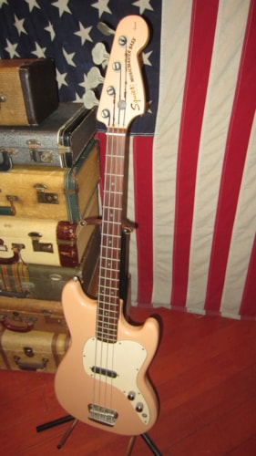 1997 Squier® By Fender® Vista Musicmaster™ Bass Pink w Matching Headstock, Excellent, GigBag, $599.00