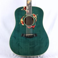 2000 Taylor GSLE Living Jewels Aqua Blue Koi Fish Guitar! Bearclaw Quilted GS
