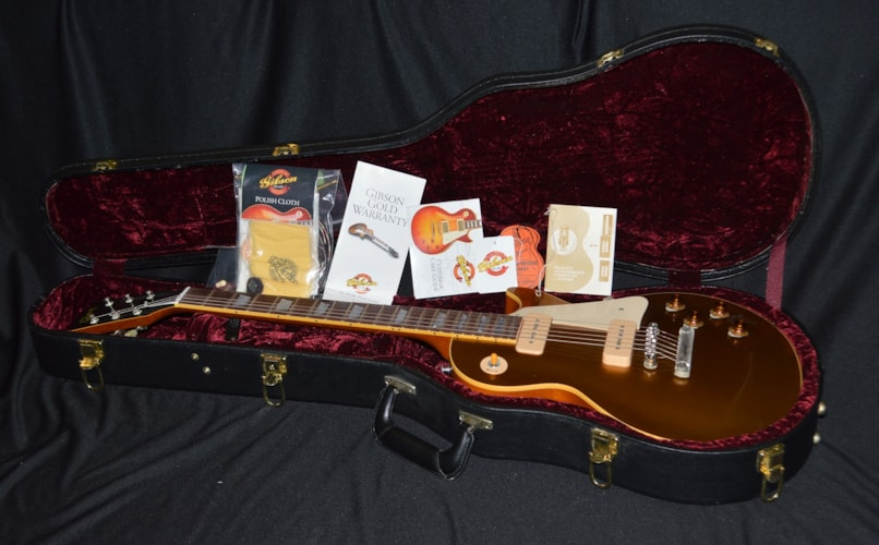2001 Gibson Custom Shop R6 '56 Reissue Les Paul Aged Gold Top, Mint, Original Hard, $2,700.00