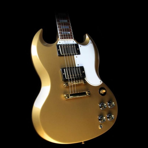 2008 Gibson Custom Shop Used 2008 Gibson Custom Shop SG Custom Electric Guitar Gold Sparkle Excellent, $3,199.00