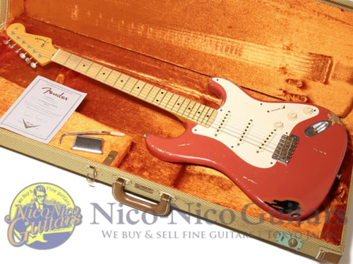 2009 Fender Custom Shop Masterbuilt '56 Stratocaster Heavy Relic by Dennis Galuszka Fiesta Red Over Black