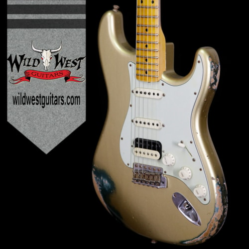 2013 Fender Custom Shop 1960 Stratocaster HSS Heavy Relic Maple Neck (1960 Reissue) HLE Gold / Sherwood Green, Brand New, Original Hard