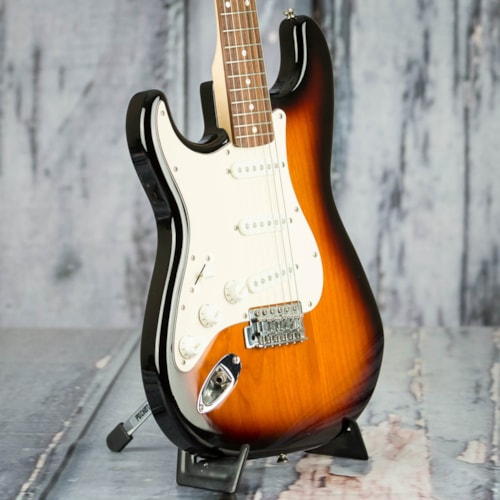 Used 2014 Squier Affinity Series Left-Handed Stratocaster, Brown Sunburst