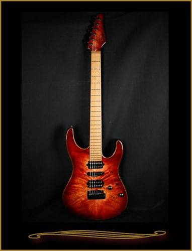 2015 Suhr Modern with Waterfall Burl Top Transparent Wine RedBurst, Brand New, Hard, $3,976.00