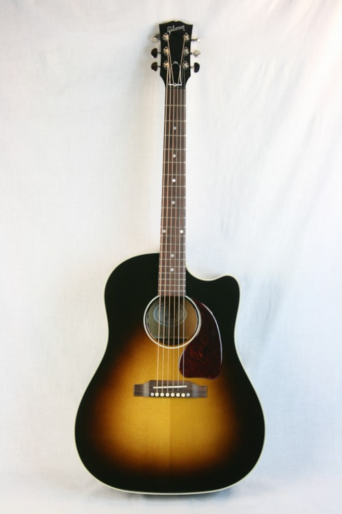 2016 gibson acoustic j 45 cutaway acoustic electric vintage sunburst w ohsc sunburst guitars. Black Bedroom Furniture Sets. Home Design Ideas