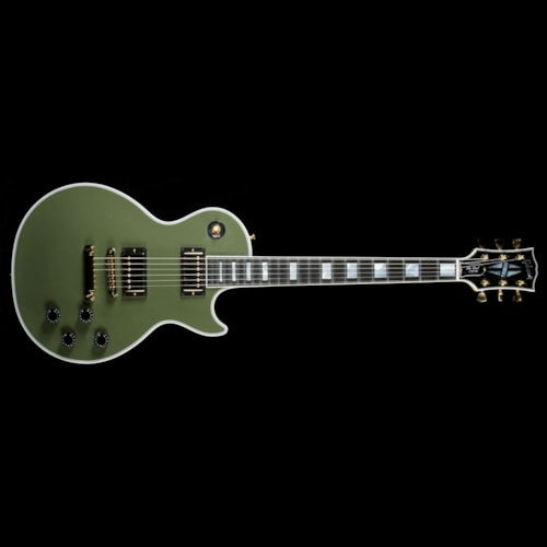2016 Gibson Custom Shop Used 2016 Gibson Custom Shop Les Paul Custom Electric Guitar Olive Green Excellent, $3,699.00