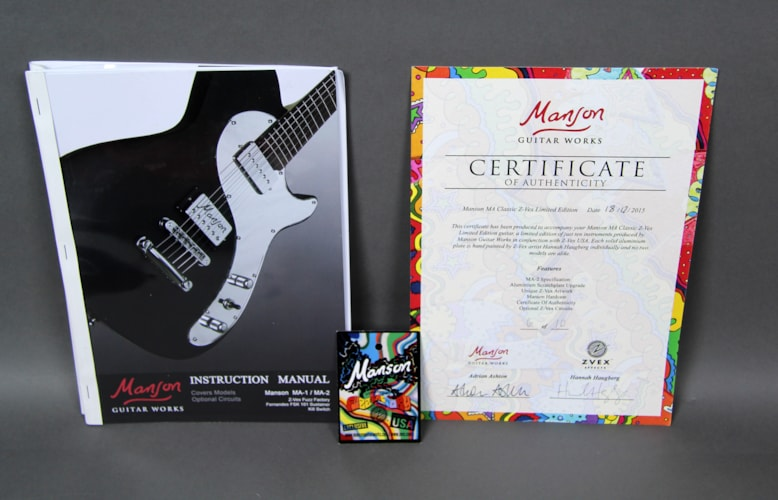 2016 Manson MA Classic Limited Edition Z-vex Custom Artwork Electric Gui Black Custom Art, Brand New, Original Hard