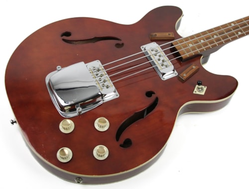 1972 Harmony H420 Semi-Hollow Bass Burgundy Red