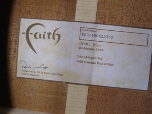 2017 Faith FRMG All Mahogany Mars  Natural, Brand New, Hard