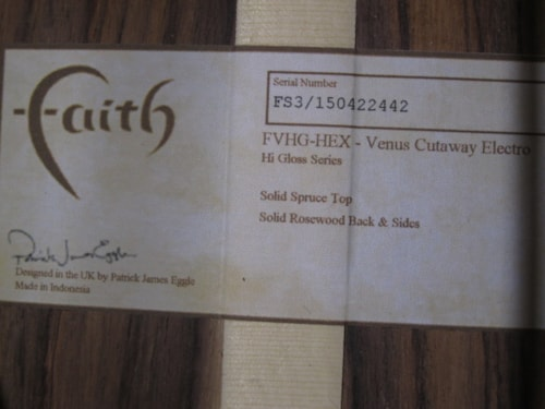 2017 Faith FVHG-HEX Hi Gloss Venus Cutaway Electro Natural, Brand New, Original Hard