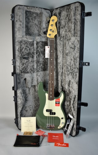 2017 Fender American Professional Precision P Bass Antique Olive, Very Good, Hard