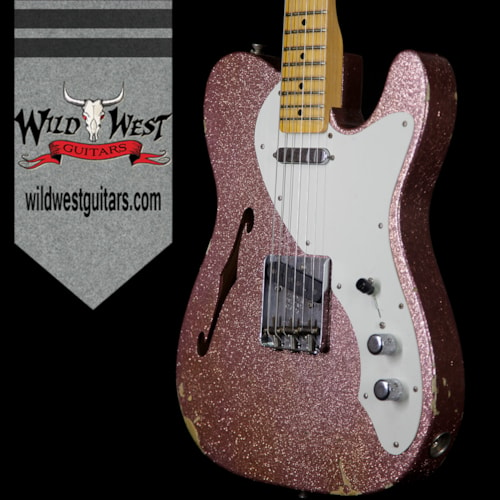 2017 Fender Custom Shop 2017 NAMM Limited Edition 50's Thinline Telecaster Relic Champagne Sparkle Champagne Sparkle, Brand New