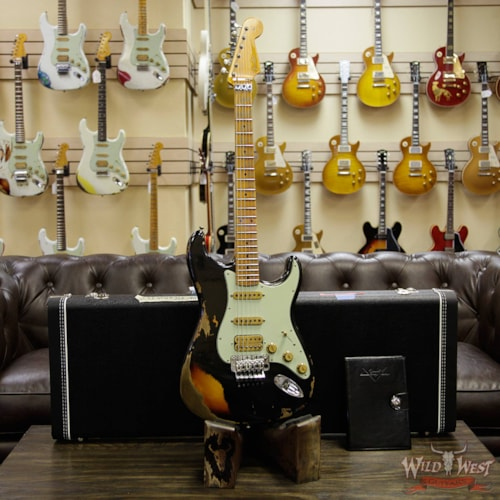 2017 Fender Custom Shop Wild West Exclusive Black Lightning Stratocaster Floyd Rose Heavy Relic HSS 3 Tone Sunburst Black over 3 Tone Sunburst, Brand New, $4,799.00