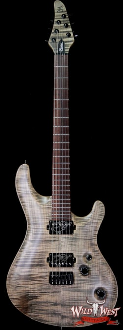2017 Mayones 2017 Mayones Regius Core Classic 6 Flame Maple Carve Top Snakewood Fingerboard Jeans Black Satin