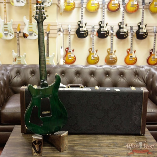 2017 PRS - Paul Reed Smith PRS Wood Library Flame 10 Top Custom 24 Semi  Hollow Brazilian Rosewood Board Charcoal Green Burst Charcoal Green Burst >