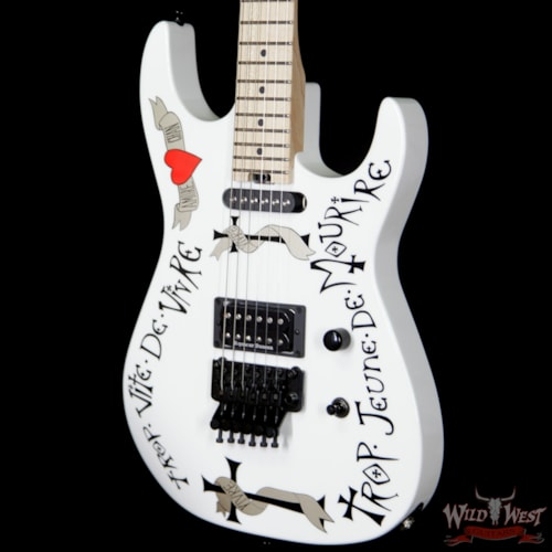 2018 Charvel USA Warren DeMartini Signature Frenchie Maple Fingerboard Gloss White Snow White with The Frenchie graphic, Brand New