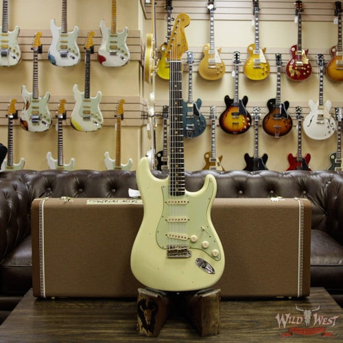 2018 Fender Custom Shop 1963 Stratocaster Journeyman Relic with Dirty Neck Rosewood Board Vintage White Vintage White, Brand New, $3,399.00