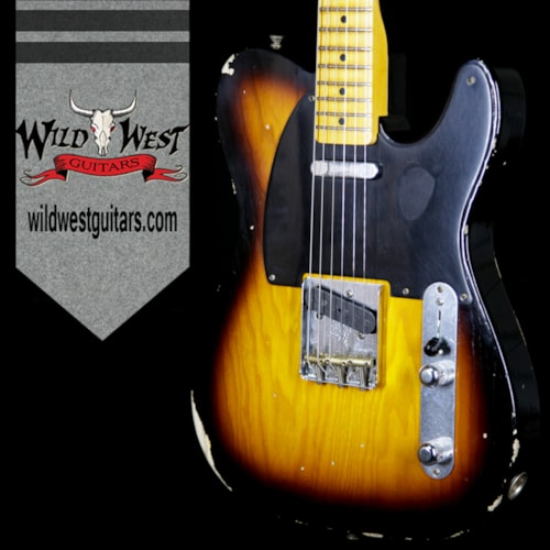 2018 Fender Custom Shop 2018 Fender Custom Shop 1952 Telecaster Relic Maple Neck 2 Tone Sunburst Black Pickguard 2 Tone Sunburst, Brand New