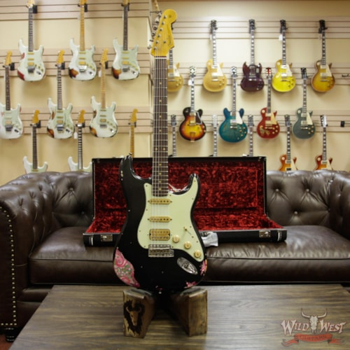 2018 Fender Custom Shop Black Lightning 2.0 Stratocaster Heavy Relic HSS 22 Frets Rosewood Board Pink Paisley Black over Pink Paisley, Brand New