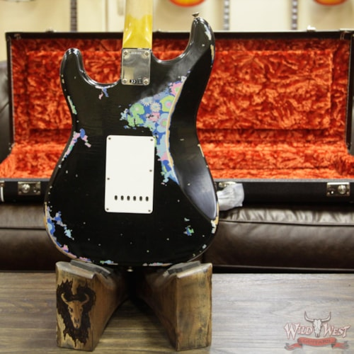 2018 Fender Custom Shop Black Lightning 2.0 Stratocaster Heavy Relic HSS Maple Neck 22 Frets Blue Flower Black over Blue Flower, Brand New