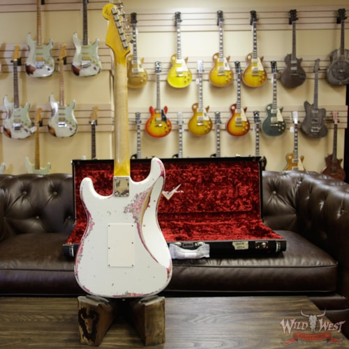 2018 Fender Custom Shop White Lightning Stratocaster HSS Floyd Rose Heavy Relic Rosewood Board 22 Frets Pink Paisley Olympic White Over Pink Paisley, Brand New