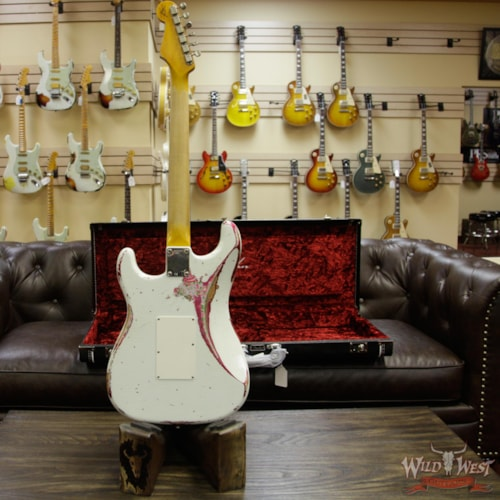 2018 Fender Custom Shop White Lightning Stratocaster HSS Floyd Rose Heavy Relic Maple Neck 22 Frets Pink Paisley Olympic White Over Pink Paisley, Brand New, $4,999.00