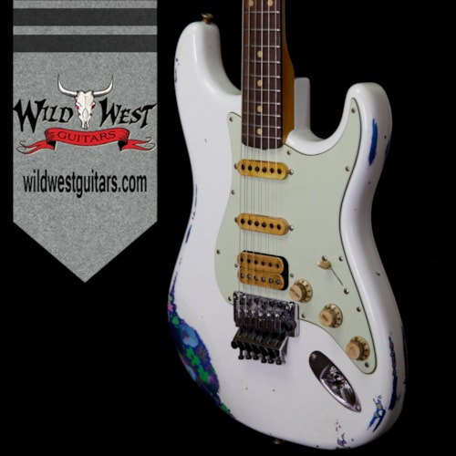 2018 Fender Custom Shop Wild West Exclusive White Lightning Stratocaster HSS Floyd Rose Heavy Relic Rosewood Board 21 Frets Blue Flower Olympic White Over Blue Flower, Brand New