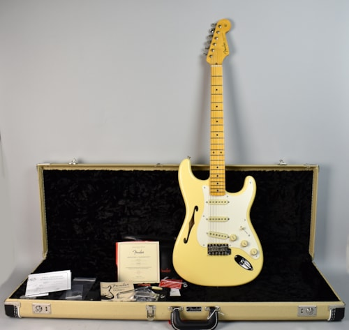 2018 Fender Eric Johnson Stratocaster Thinline Vintage White, Brand New, Original Hard