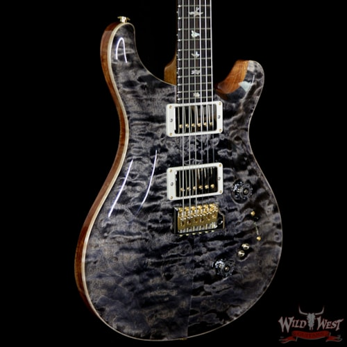 2018 PRS - Paul Reed Smith PRS Wood Library Quilted 10 Top Custom 24-08 Flame Mahogany Neck Brazilian Rosewood Fretboard Charcoal Charcoal, Brand New