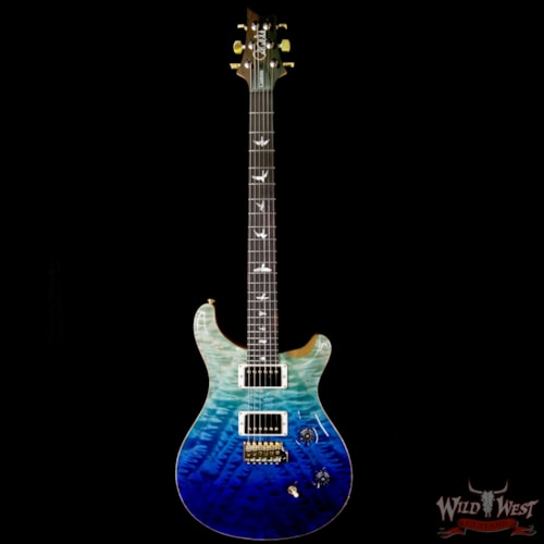 2018 PRS - Paul Reed Smith PRS Wood Library 10 Top Custom 24 Fatback Quilt Top Flame Neck Korina Brazilian Rosewood Board Blue Fade Blue Fade, Brand New