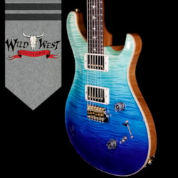 2018 PRS Wood Library 10 Top Custom 24-08 Flame Maple Top Cocobolo Fingerboard Blue Fade