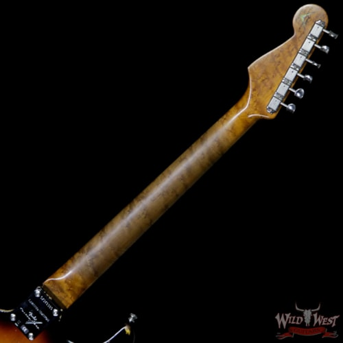 2019 Fender Custom Shop Roasted 1960 Stratocaster Birdseye Maple Neck Slab 3A Rosewood Board Relic 3 Tone Sunburst 3 Tone Sunburst
