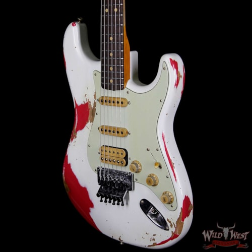 2019 Fender Custom Shop White Lightning HSS Floyd Rose Stratocaster Rosewood Fretboard 21 Frets Torino Red Olympic White Over Torino Red