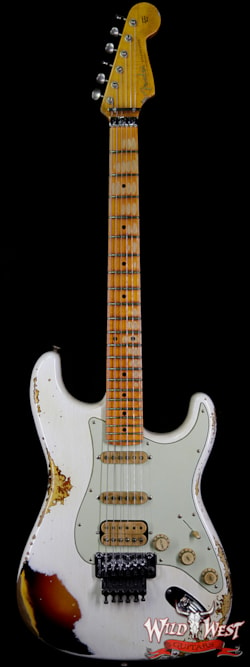 2019 Fender Custom Shop White Lightning Straocatser Floyd Rose HSS Maple Neck 22 Frets 3 Tone Sunburst