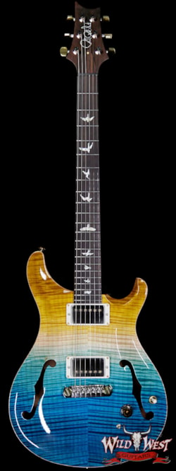 2019 PRS - Paul Reed Smith PRS Wild West Guitars 20th Anniversary Limited Run # 8 of 40 Wood Library Artist Package Hollowbody I Piezo HB1 Beach Cross Fade(Private Stock Color)
