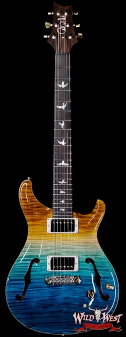 2019 PRS - Paul Reed Smith PRS Wild West Guitars 20th Anniversary Limited Run # 7 of 40 Wood Library Artist Package Hollowbody I Piezo HB1 Beach Cross Fade(Private Stock Color)