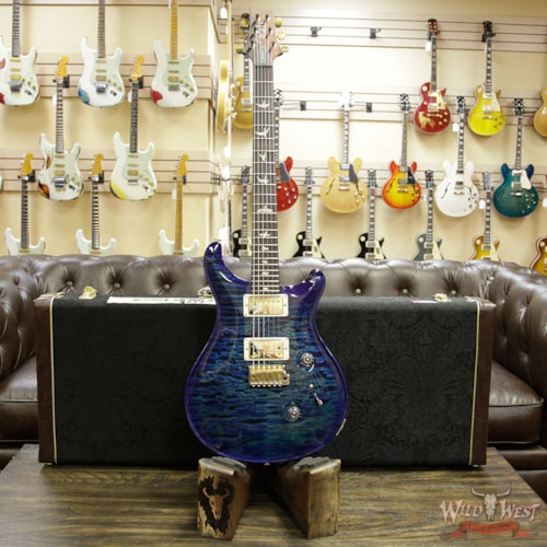 2019 PRS - Paul Reed Smith PRS Wood Library 10 Top Custom 24 Quilt Top Flame Maple Neck Brazilian Rosewood Board Faded Blue Wrapburst Faded Blue Wrapburst, Brand New